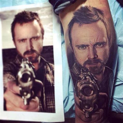 aaron paul tattoos tattoos inked aaron paul breaking bad portrait
