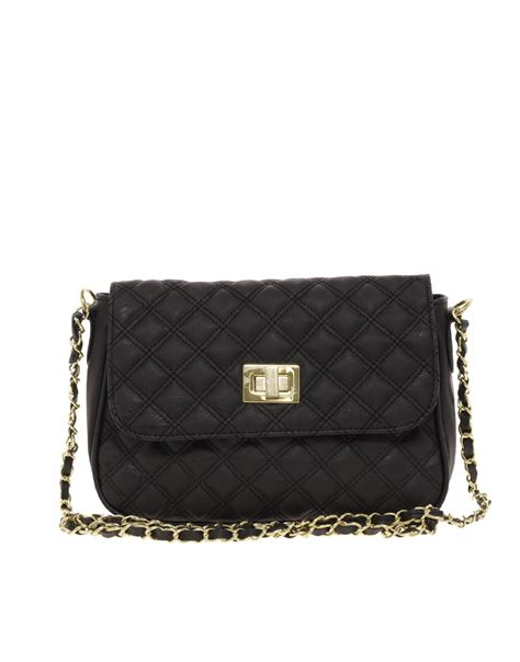 Quilted Black Purse by Asos Quilted Lock Across Bag In Black Lyst