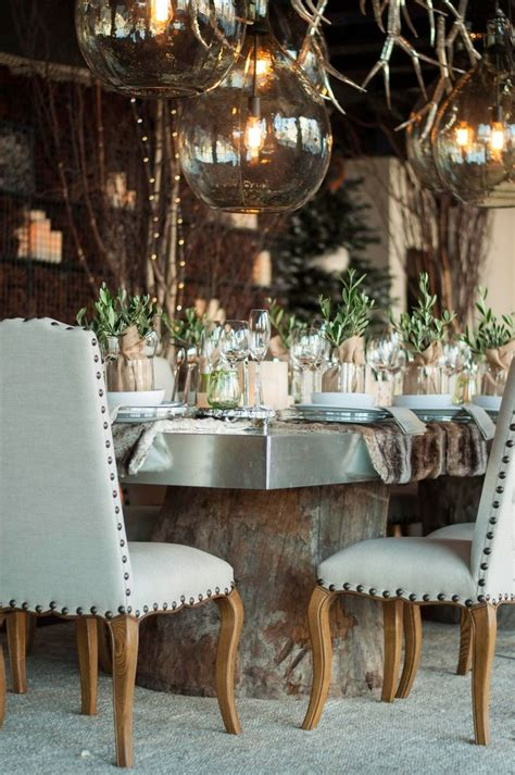 dining table for 8 rustic decorated christmas trees rustic winter dining table tablescape tabletop