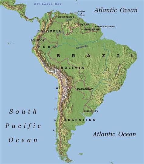america map of mountains mountain range insouth america