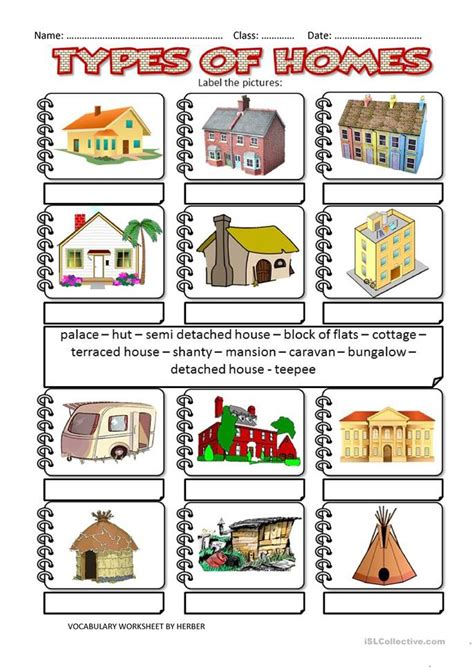 types of homes worksheet free esl printable worksheets