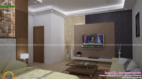 Modern Tv Units For Bedroom by Bedroom And Kitchen Interior Decor Kerala Home Design