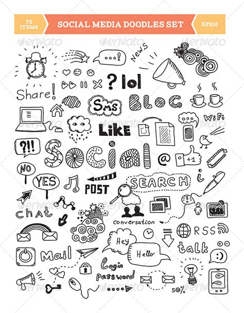 doodle sign in stock vector graphicriver social media doodle elements