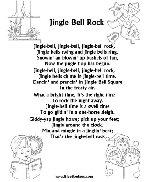 Printable Lyrics Jingle Bell Rock | bluebonkers jingle bell rock free printable christmas