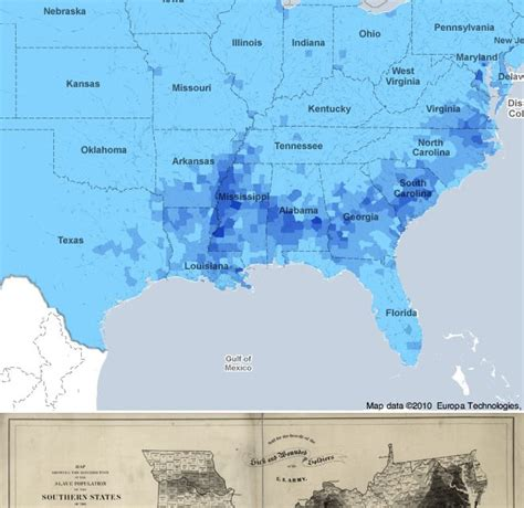 maps compared slavery in 1860 and american