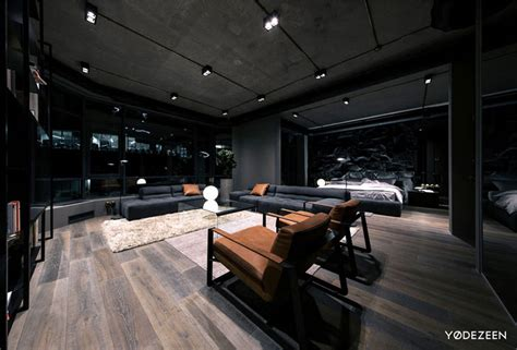 trendy dark bachelor apartment  yodezeen interiorzine