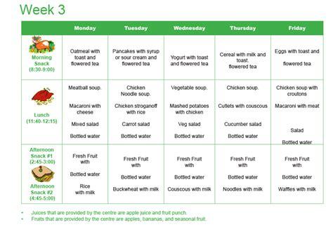 menu wonderland daycare