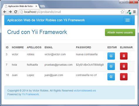 online tutorial for yii framework crud con yii framework victor robles victor robles