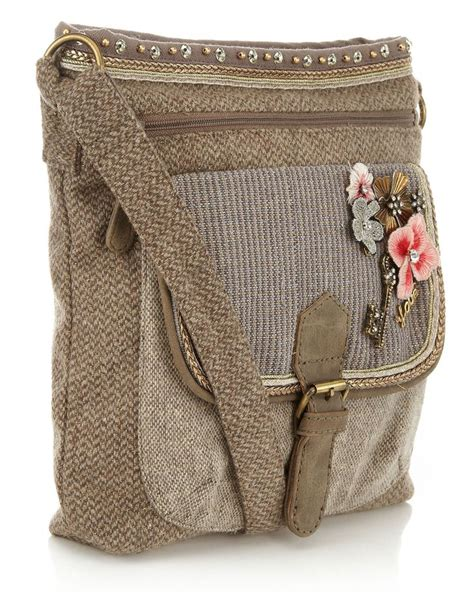 Tweed Corsage Bag From Accessorize by Tweed Charm Crossbody Bag Taupe Accessorize Bags
