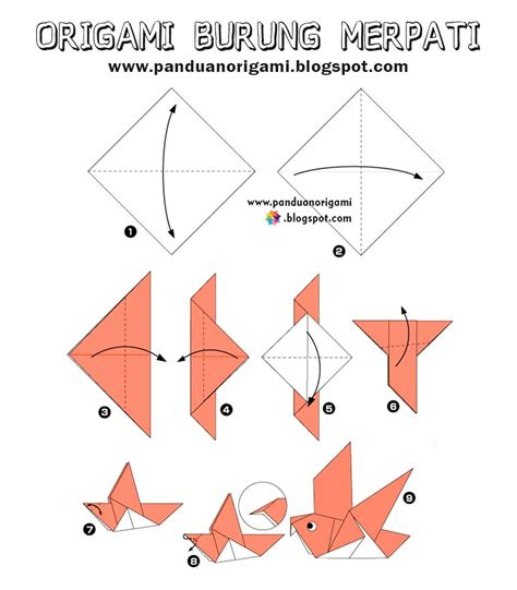 panduan membuat origami burung tutorial origami burung yang mudah