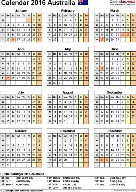 Calendar 2016 Holidays Australia Australia Calendar 2016 Free Printable Excel Templates
