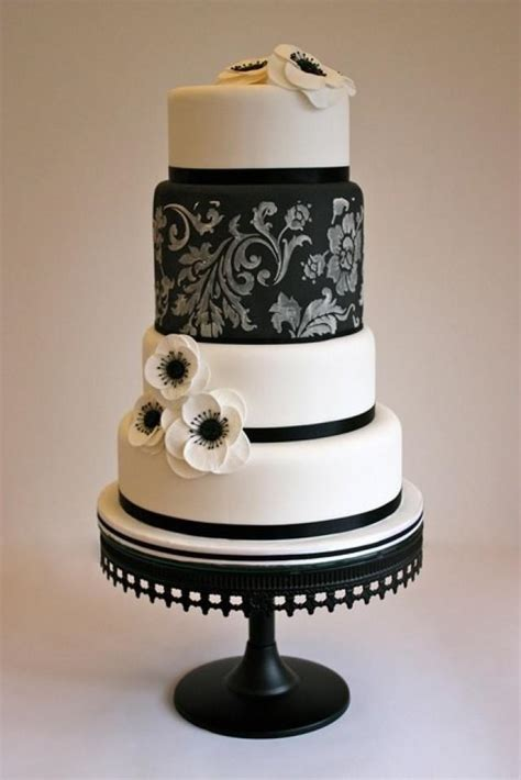 Black And White Wedding Cake by Black And White Wedding Black White Cake 2051145 Weddbook