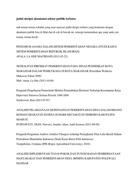Judul skripsi kebijakan publik download. 100 Skripsi