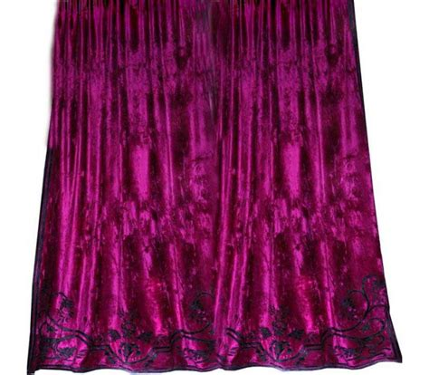 pink velvet curtain alison fuschia pink velvet appliqued curtain