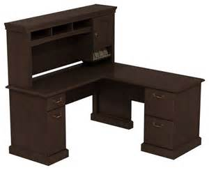 L Shaped Computer Desk With Hutch Cherry Bush Syndicate 60 Quot L Shape Desk With Hutch In Mocha Cherry