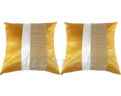 yellow decorative bed pillows 2x yellow gold contemporary silk throw decorative pillow