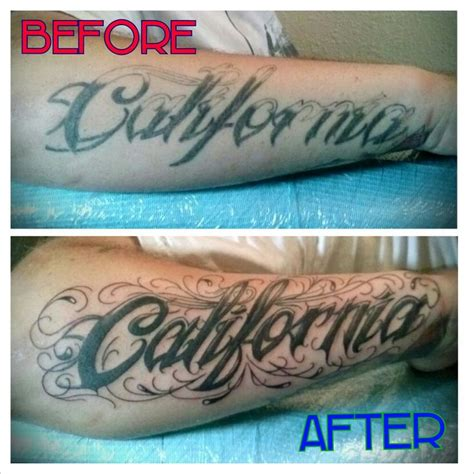 tattoo font cover up california lettering coverup fixer upper tattoos by marz