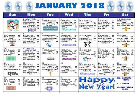 january 2018 inforem info january 2018 calendar lott assisted living residence