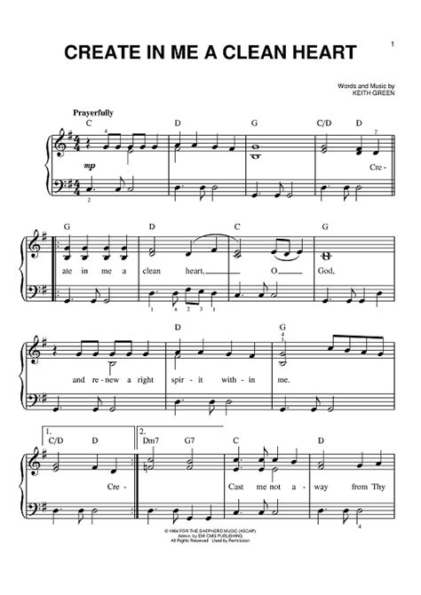 in the house in a heartbeat piano sheet music create in me a clean heart sheet music for piano and more sheetmusicnow com