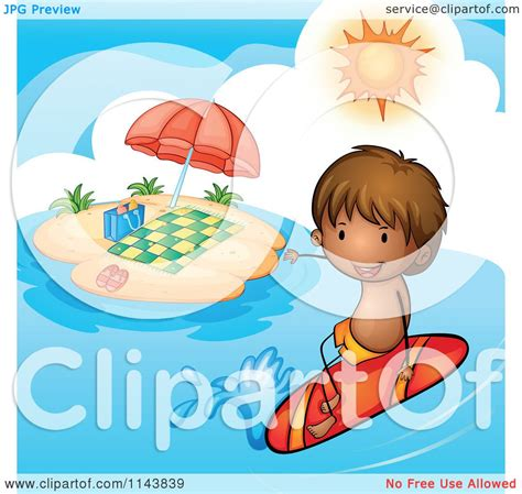 Surf The Web With The Umbrella by Of A Boy Surfing Near An Island With An Umbrella