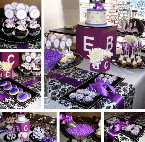 purple pink theme bridal wedding shower party ideas black white and purple baby shower baby shower ideas