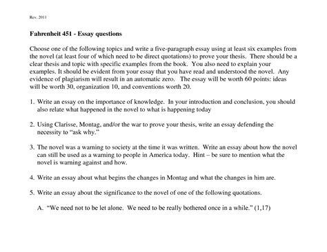 Fahrenheit 451 Essay Topics by Fahrenheit 451 Essay Topics Docoments Ojazlink