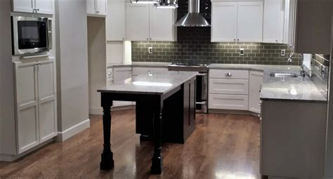 Kitchen Island Accent Color Affordable Custom Cabinets Showroom
