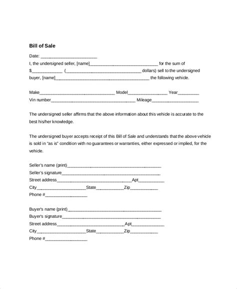generic bill of sale 7 sle general bill of sale forms sle forms