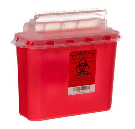 Box Sharp plasti products biohazard sharps container 5 4 qt