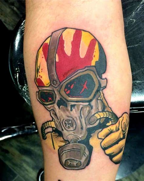 christian tattoo terre haute skull with a gas mask five finger death punch tattoo by