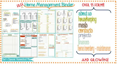 home management binder templates free other planners