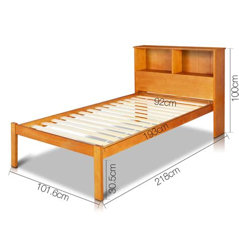 singe pine wood bed frame with storage shelf