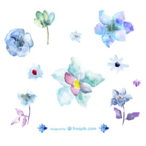 free vector watercolor flowers blue watercolor flowers illustrations vector free download