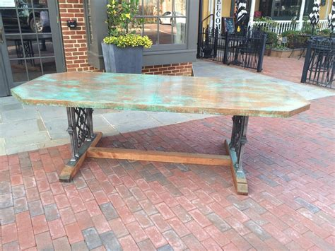 copper dining room tables custom designed copper dining table for sale at 1stdibs