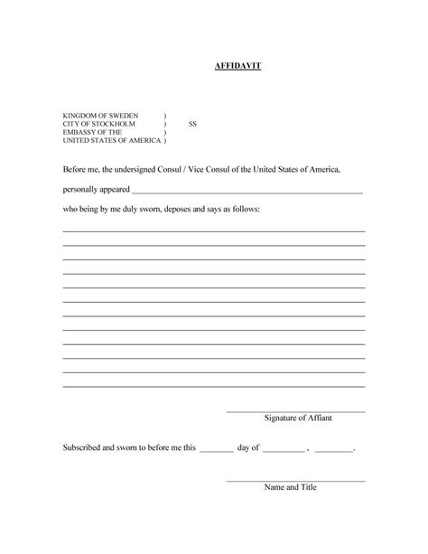48 Sle Affidavit Forms Templates Affidavit Of Support Form Free Template Downloads Free Affidavit Template