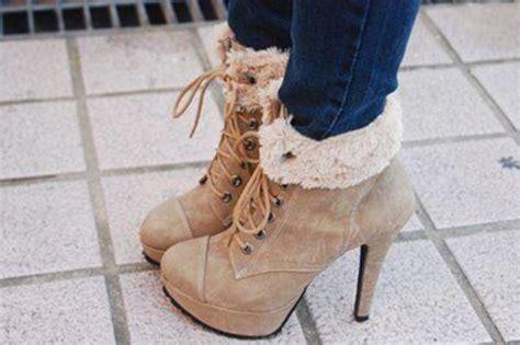 winter high heels boots shoes high heels beige shoes winter fall