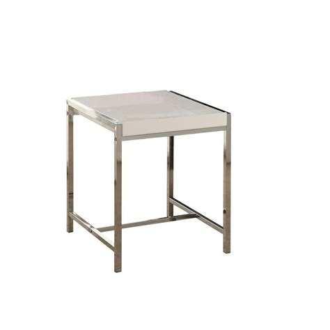 Acrylic Accent Table Monarch Specialties Accent Table White Acrylic With Chrome Metal The Home Depot Canada