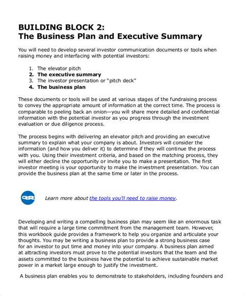 executive summary template for business plan executive summary template 8 free word pdf documents