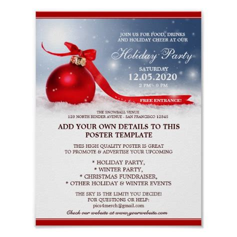 christmas and holiday party announcement templates poster
