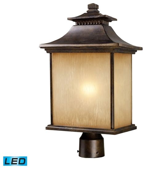 Asian Outdoor Lighting Elk Lighting 42184 1 San Gabriel 1 Light Outdoor Post Light Hazelnut Bronze Asian Post