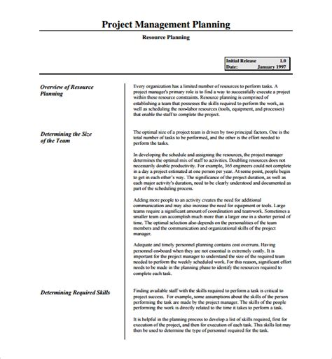 resource planning template project plan templates