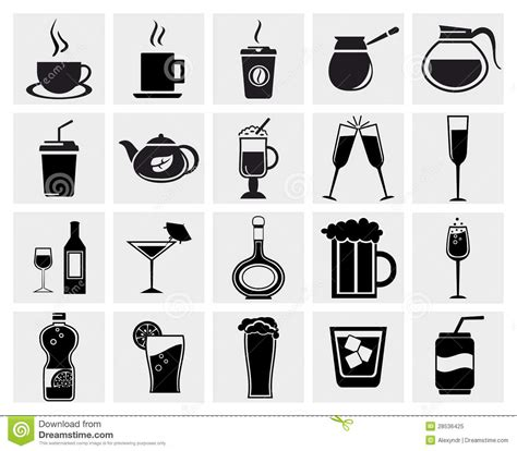 drink vector vector black drinks beverages icons set stock vector