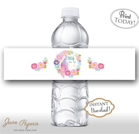 printable unicorn water bottle labels instant download floral unicorn water bottle labels