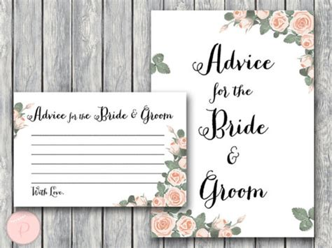 Advice For The And Groom Cards Template by Pink Roses Bridal Shower Printabell Express
