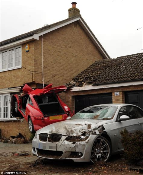 House And Cars by Driver In His 20s In Critical Condition After