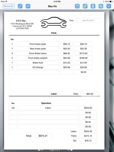 luxury repair invoices template free invoice templates car repair