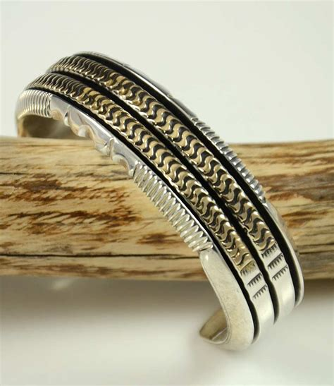 Deonard Gold Silver Sabun heavy silver and 14kt gold cuff by leonard nez hoel s indian shop