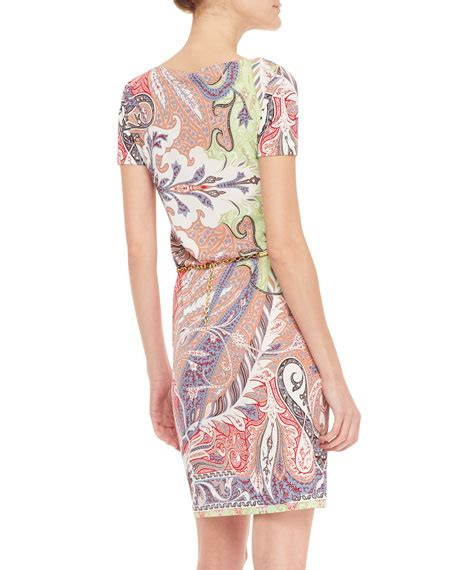 Belted Paisley Print Dress 9615 Etro Sleeve Chain Belted Paisley Dress Pink