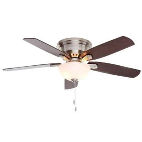 Home Depot Low Profile Ceiling Fan by Princeton 52 In Indoor Low Profile Brushed Nickel Ceiling Fan With Light 53269 The