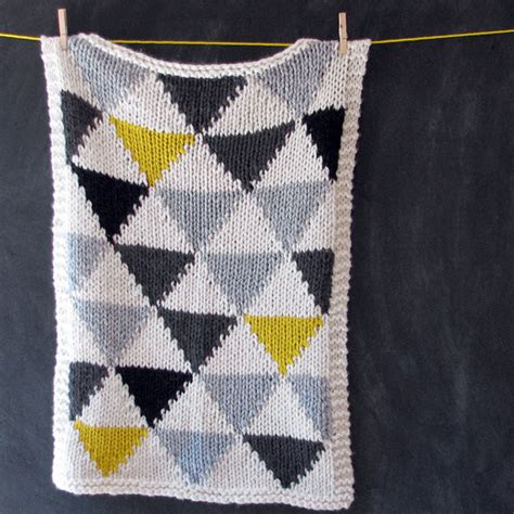 Modern Baby Blanket Knitting Patterns by Knitted Triangle Pattern Baby Blanket By Yarning Made